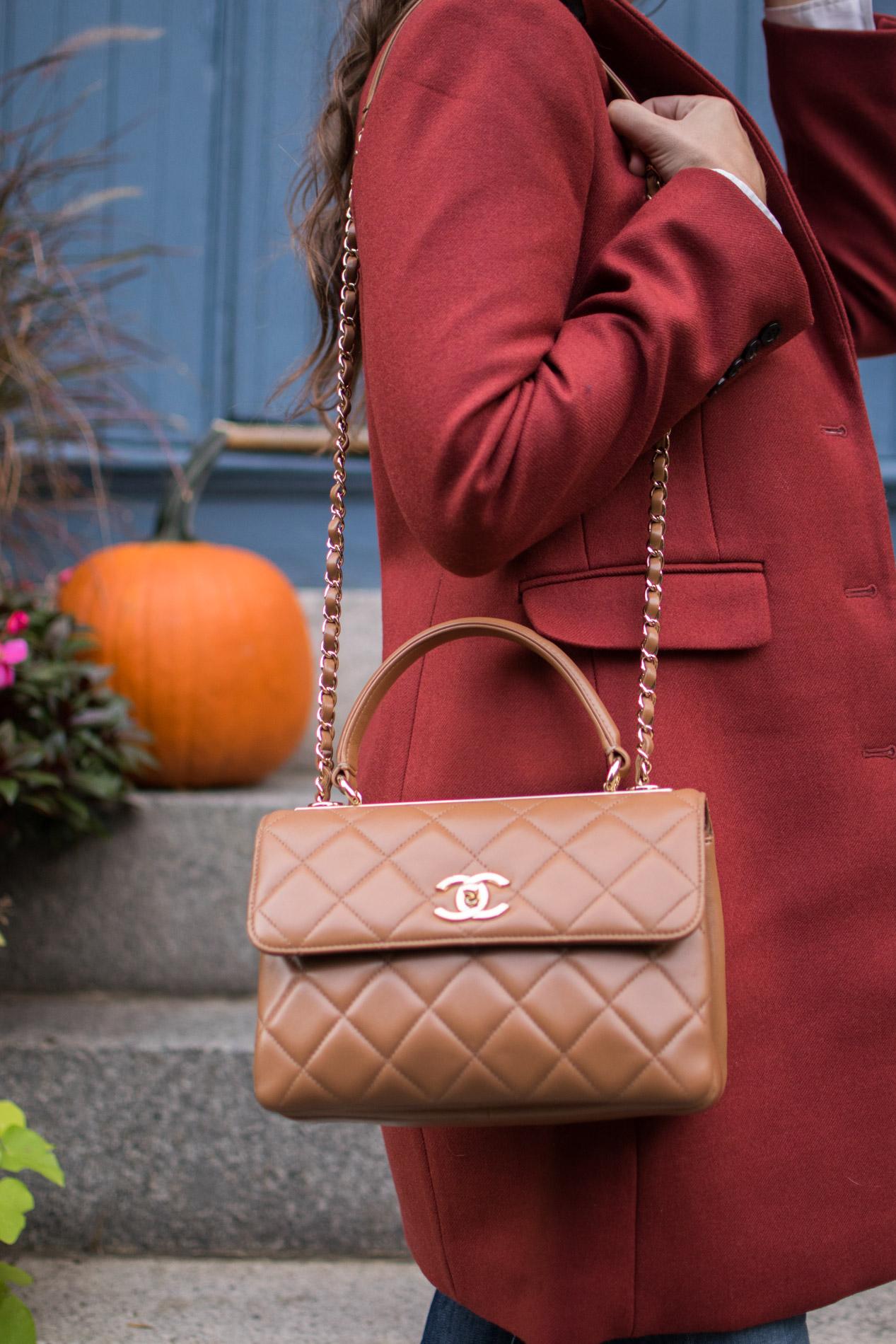 chanel cc trendy tote, stylish fall coats, j.crew parke topcoat, boston, the-alyst.com